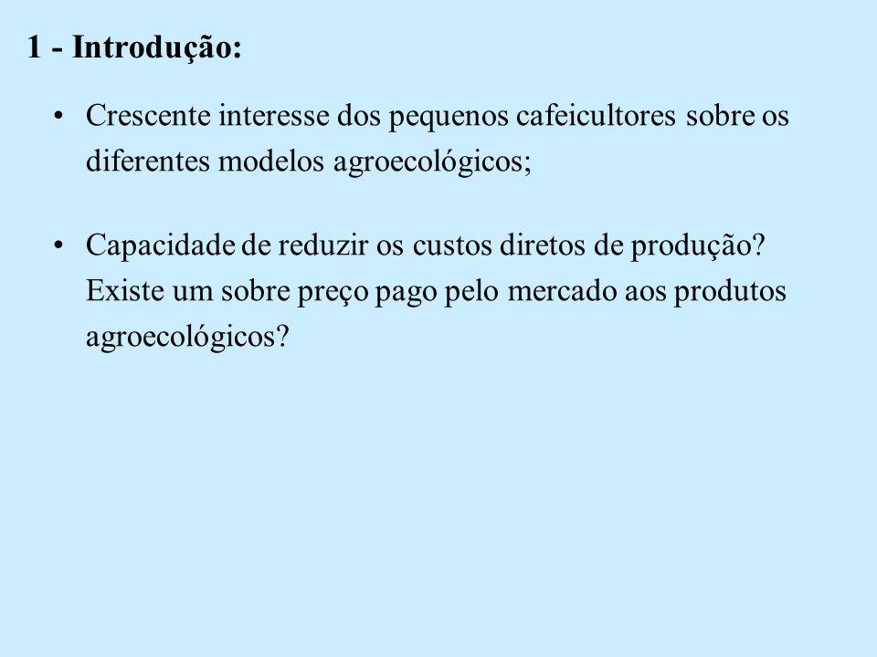 1 - Introdução: Crescente interesse dos pequenos cafeicultores sobre os diferentes modelos agroecológicos;