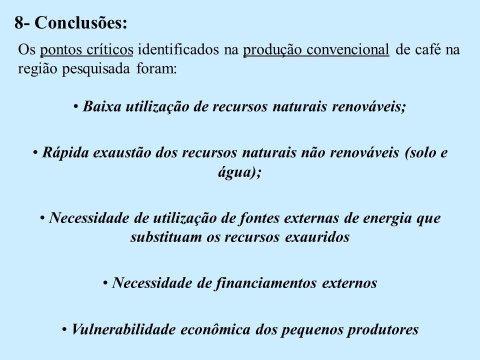 8- Conclusões: Os pontos críticos identificados na produção convencional de café na região pesquisada foram: