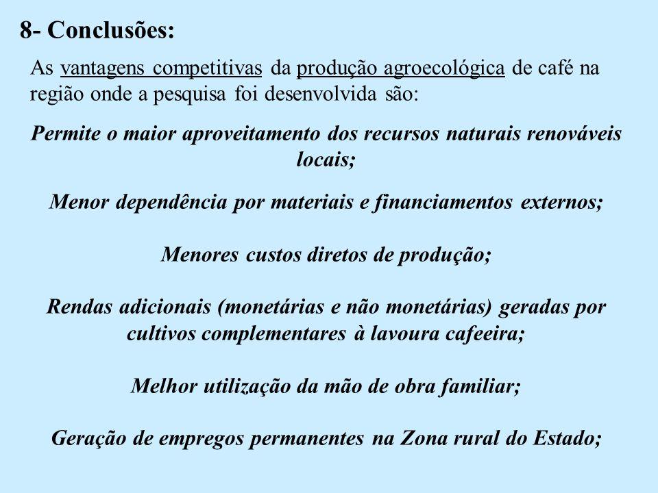 8- Conclusões: As vantagens competitivas da produção agroecológica de café na região onde a pesquisa foi desenvolvida são: