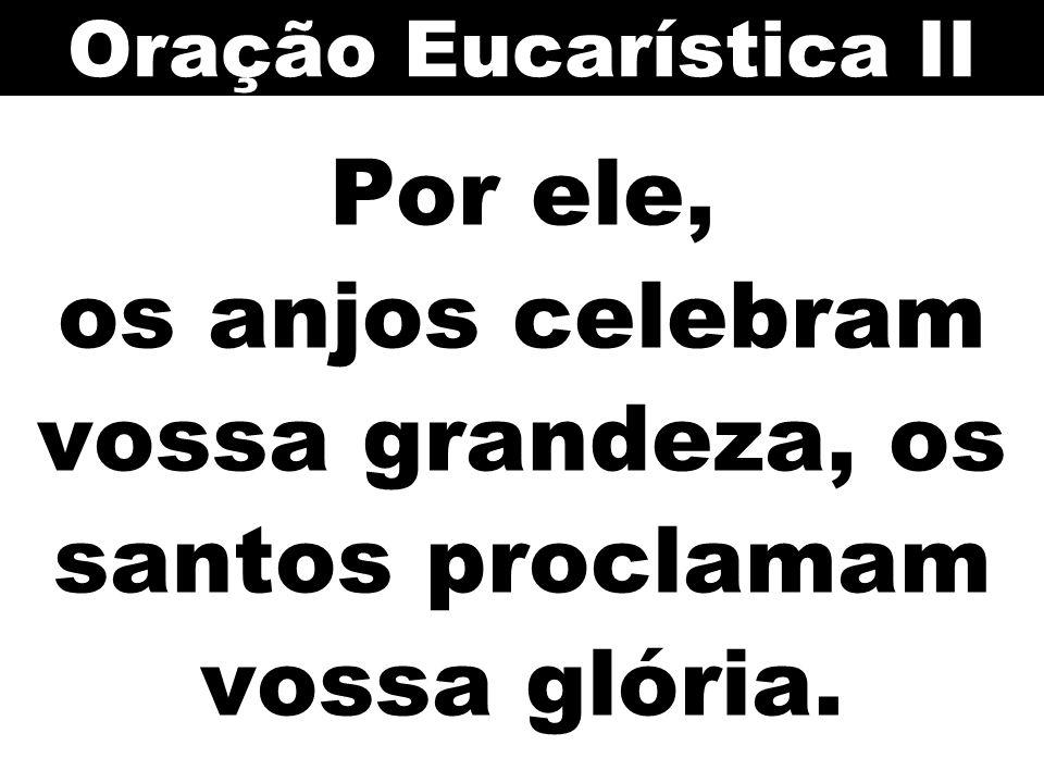 Oração Eucarística II Por ele, os anjos celebram vossa grandeza, os santos proclamam vossa glória.