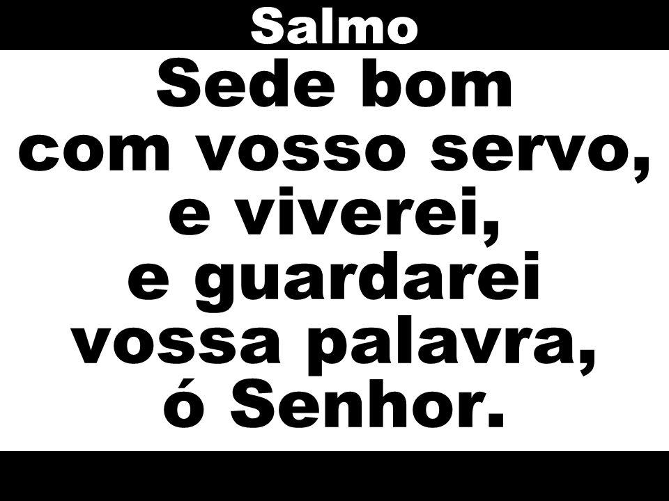 Salmo Sede bom com vosso servo, e viverei, e guardarei vossa palavra, ó Senhor.