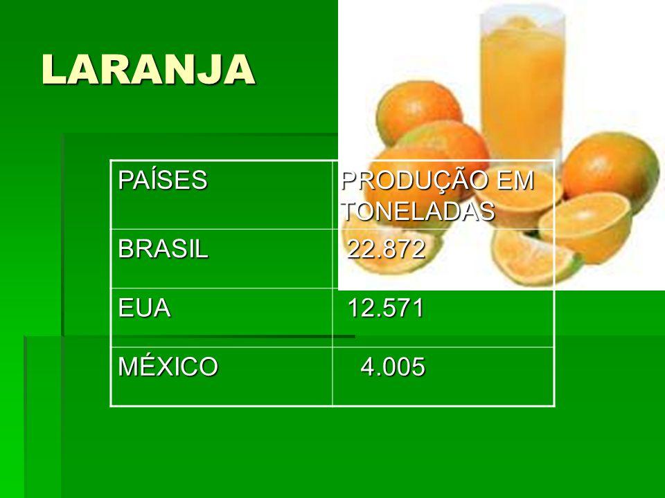 LARANJA PAÍSES PRODUÇÃO EM TONELADAS BRASIL 22.872 EUA 12.571 MÉXICO