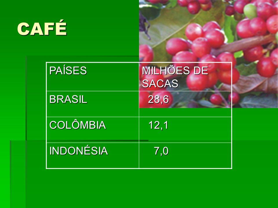 CAFÉ PAÍSES MILHÕES DE SACAS BRASIL 28,6 COLÔMBIA 12,1 INDONÉSIA 7,0
