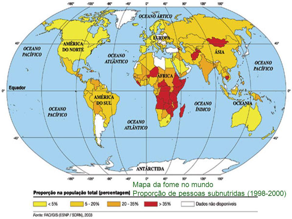 Mapa da fome no mundo Proporção de pessoas subnutridas (1998-2000)