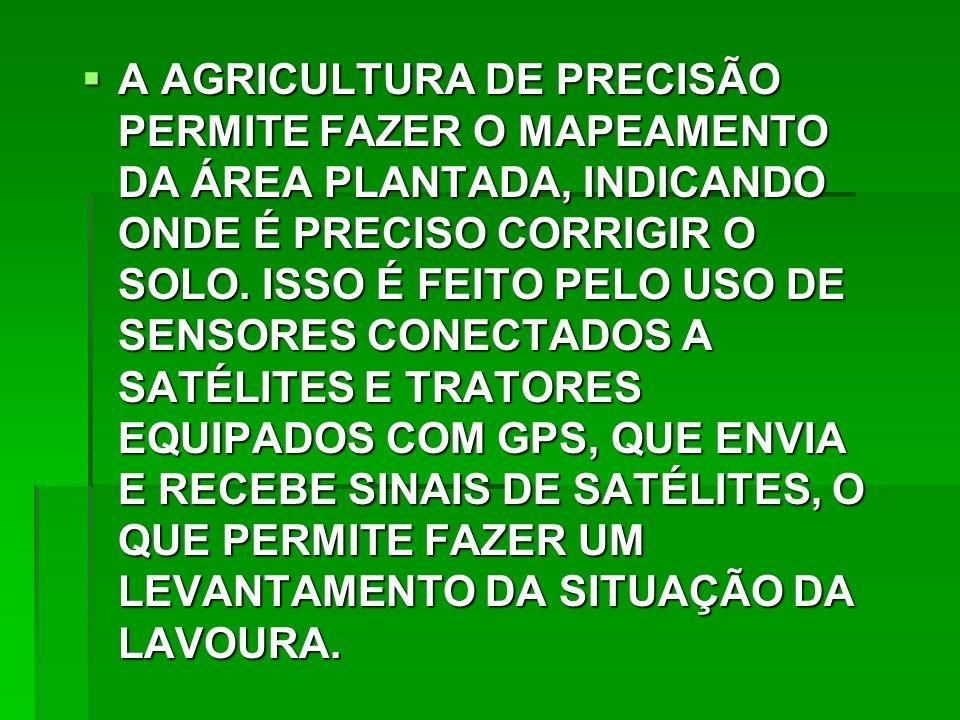 A AGRICULTURA DE PRECISÃO PERMITE FAZER O MAPEAMENTO DA ÁREA PLANTADA, INDICANDO ONDE É PRECISO CORRIGIR O SOLO.