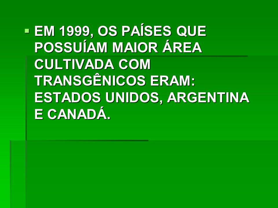 EM 1999, OS PAÍSES QUE POSSUÍAM MAIOR ÁREA CULTIVADA COM TRANSGÊNICOS ERAM: ESTADOS UNIDOS, ARGENTINA E CANADÁ.