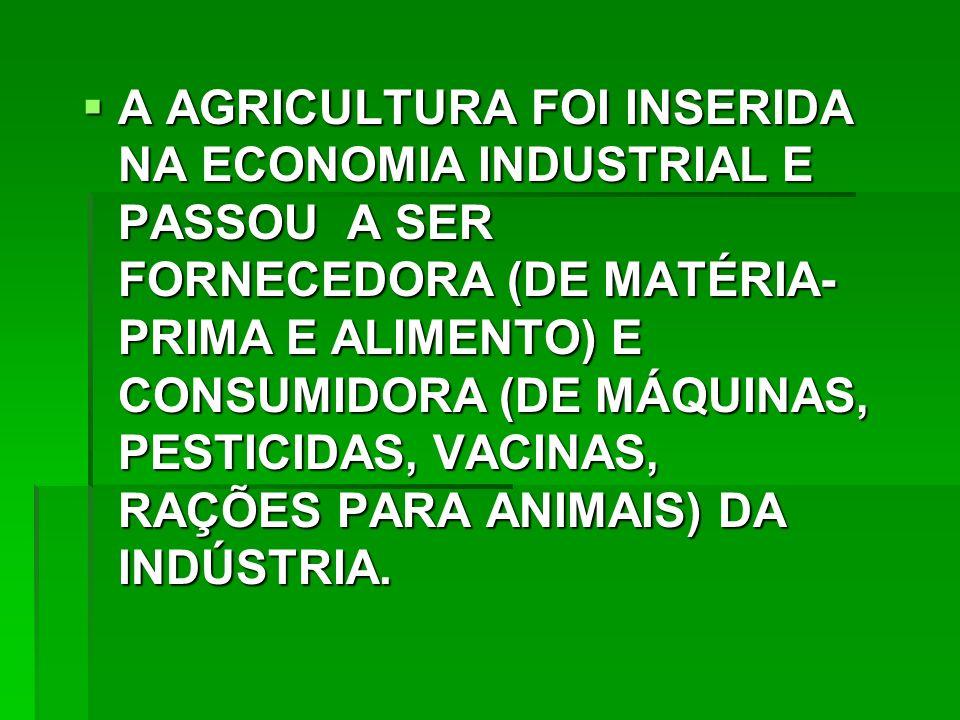 A AGRICULTURA FOI INSERIDA NA ECONOMIA INDUSTRIAL E PASSOU A SER FORNECEDORA (DE MATÉRIA-PRIMA E ALIMENTO) E CONSUMIDORA (DE MÁQUINAS, PESTICIDAS, VACINAS, RAÇÕES PARA ANIMAIS) DA INDÚSTRIA.