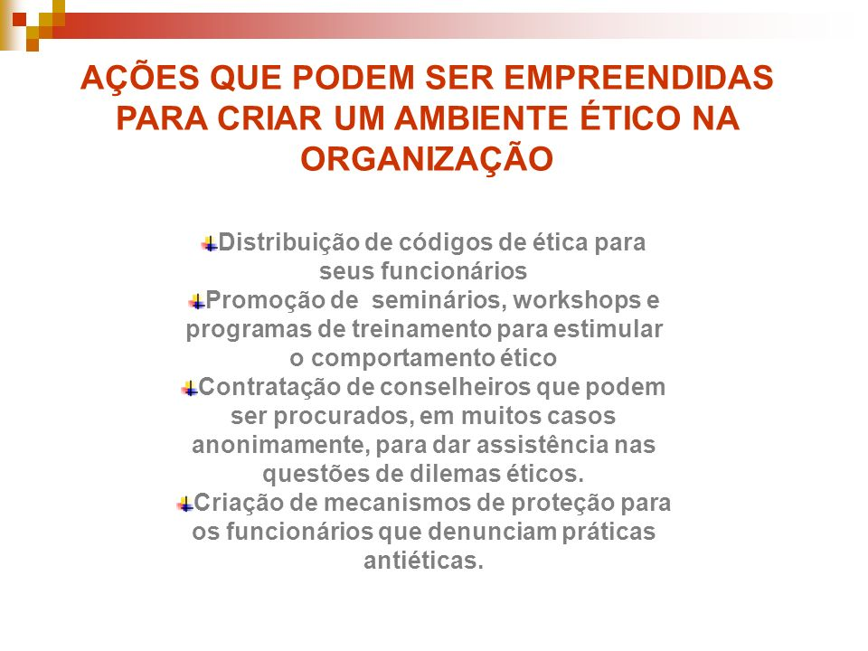 Distribuição de códigos de ética para seus funcionários