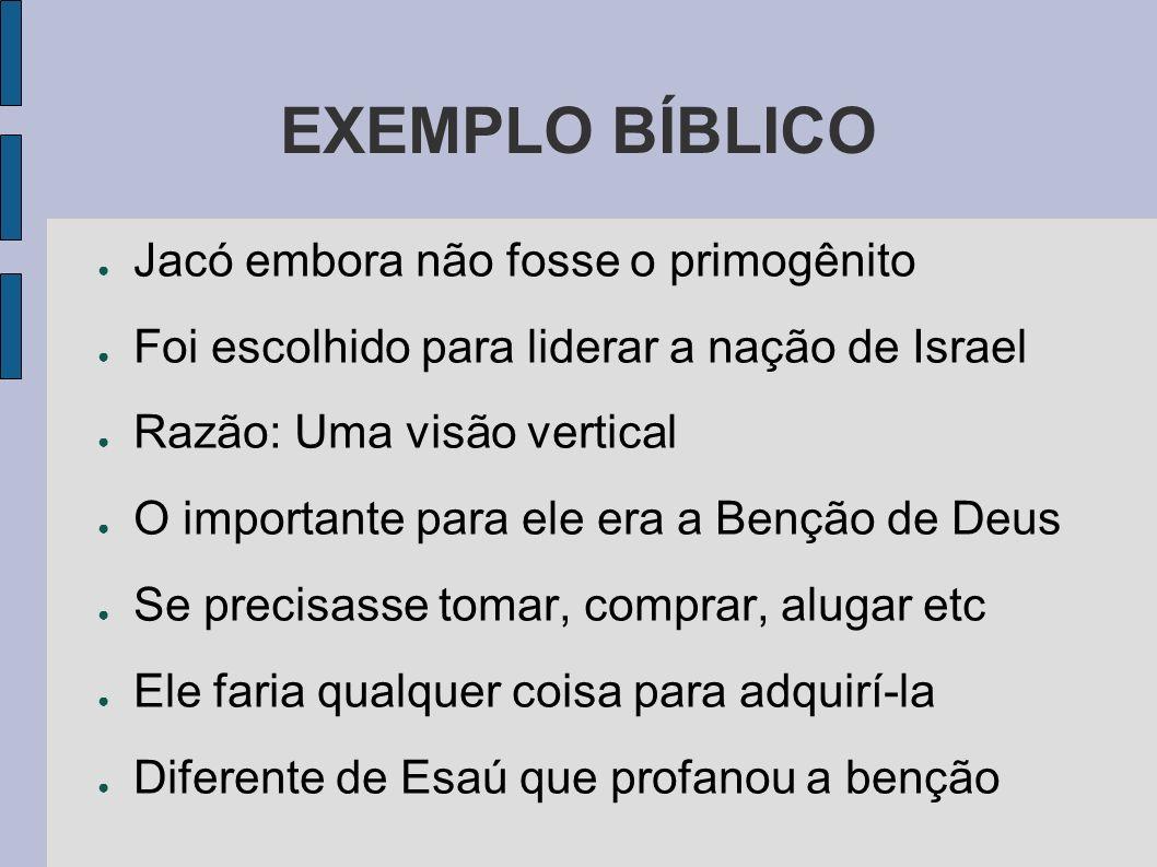 EXEMPLO BÍBLICO Jacó embora não fosse o primogênito
