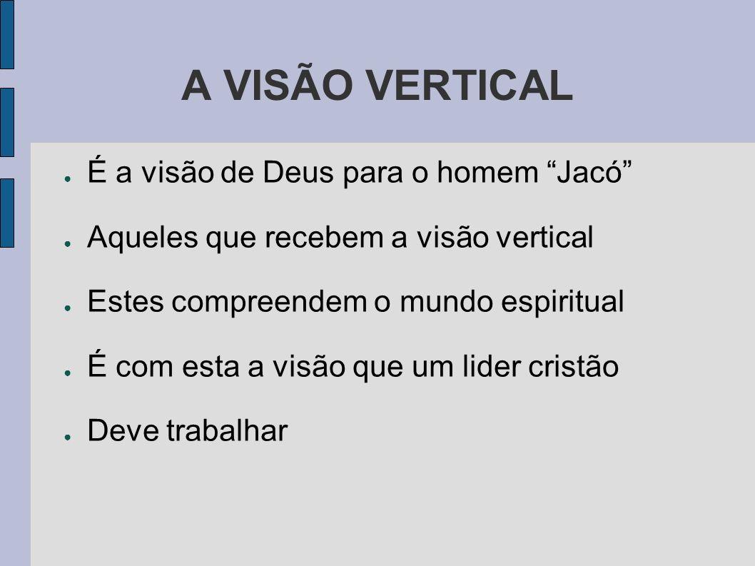 A VISÃO VERTICAL É a visão de Deus para o homem Jacó