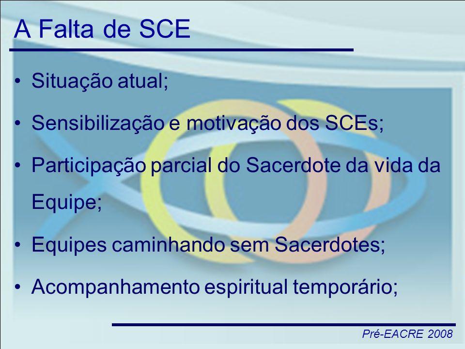 A Falta de SCE Situação atual; Sensibilização e motivação dos SCEs;
