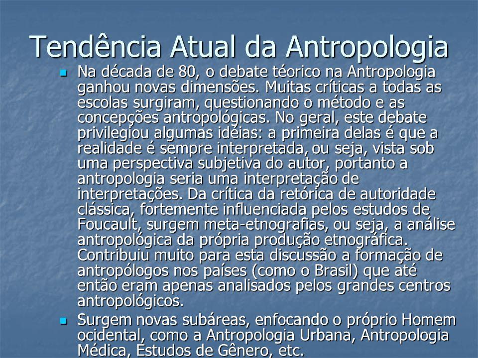 Tendência Atual da Antropologia