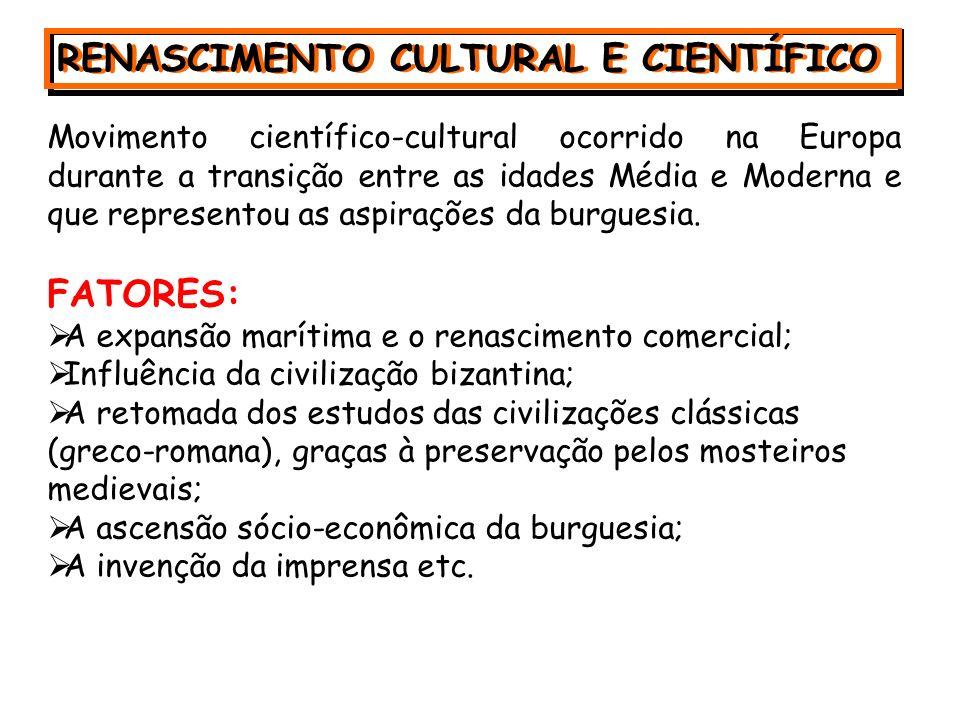 RENASCIMENTO CULTURAL E CIENTÍFICO RENASCIMENTO CULTURAL E CIENTÍFICO