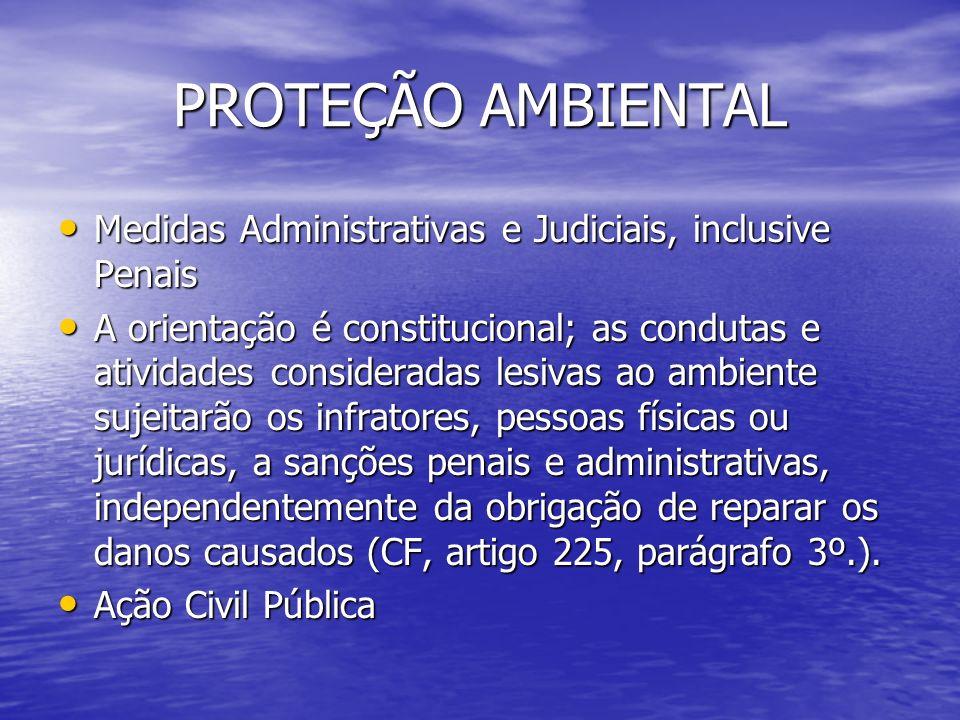 PROTEÇÃO AMBIENTAL Medidas Administrativas e Judiciais, inclusive Penais.