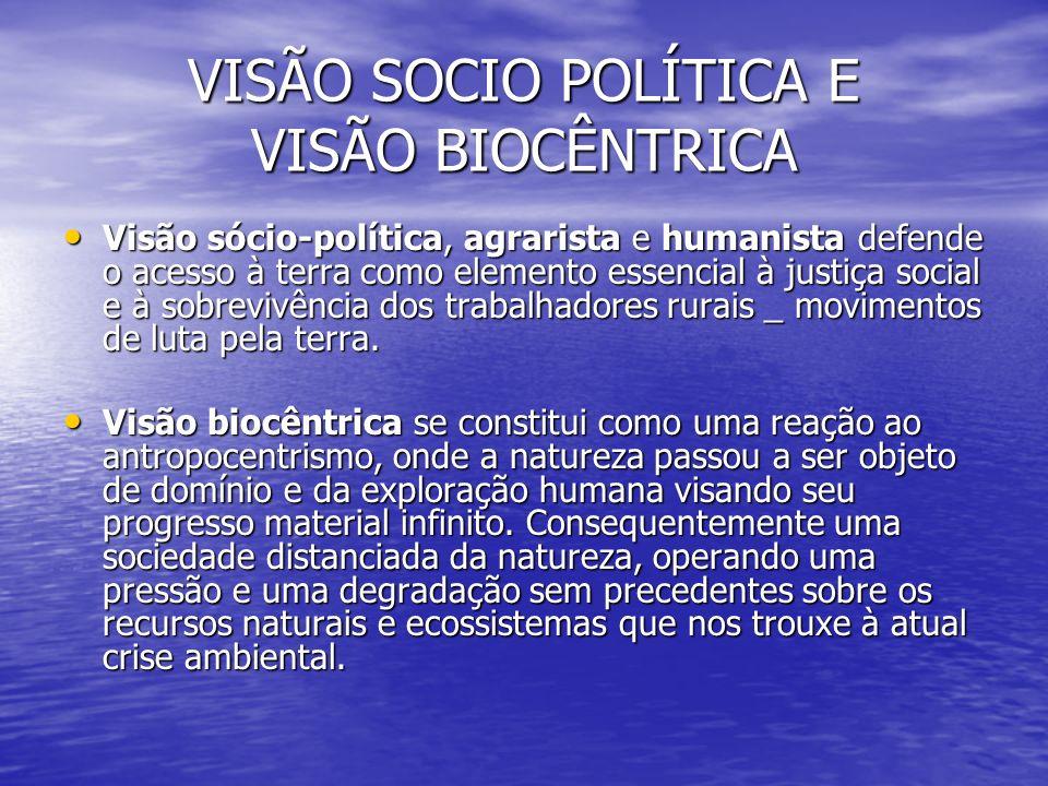 VISÃO SOCIO POLÍTICA E VISÃO BIOCÊNTRICA