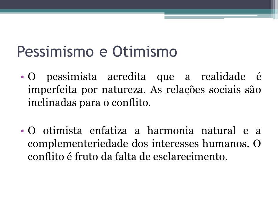 Pessimismo e Otimismo O pessimista acredita que a realidade é imperfeita por natureza. As relações sociais são inclinadas para o conflito.