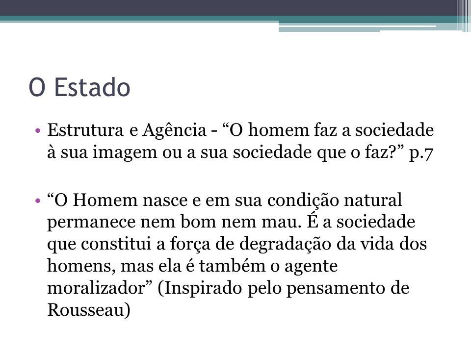 O Estado Estrutura e Agência - O homem faz a sociedade à sua imagem ou a sua sociedade que o faz p.7.