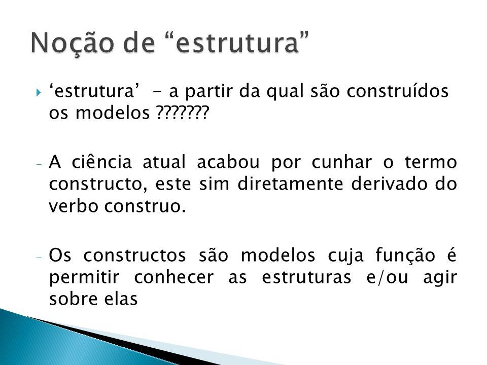 Noção de estrutura 'estrutura' - a partir da qual são construídos os modelos
