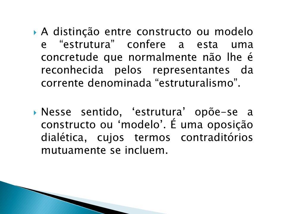 A distinção entre constructo ou modelo e estrutura confere a esta uma concretude que normalmente não lhe é reconhecida pelos representantes da corrente denominada estruturalismo .