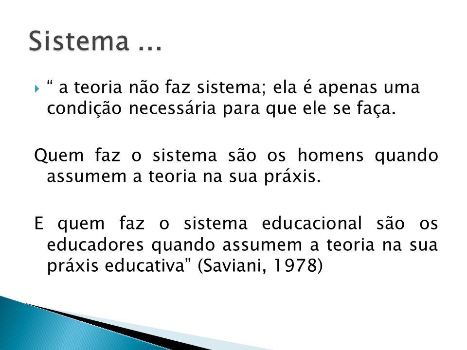 Sistema ... a teoria não faz sistema; ela é apenas uma condição necessária para que ele se faça.