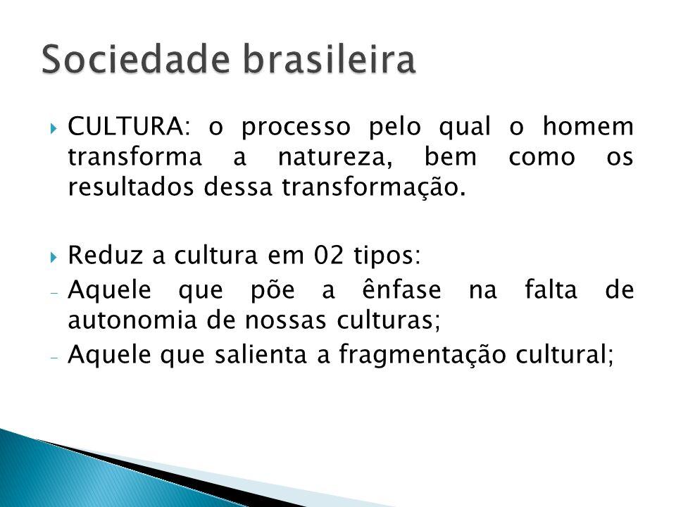 Sociedade brasileira CULTURA: o processo pelo qual o homem transforma a natureza, bem como os resultados dessa transformação.