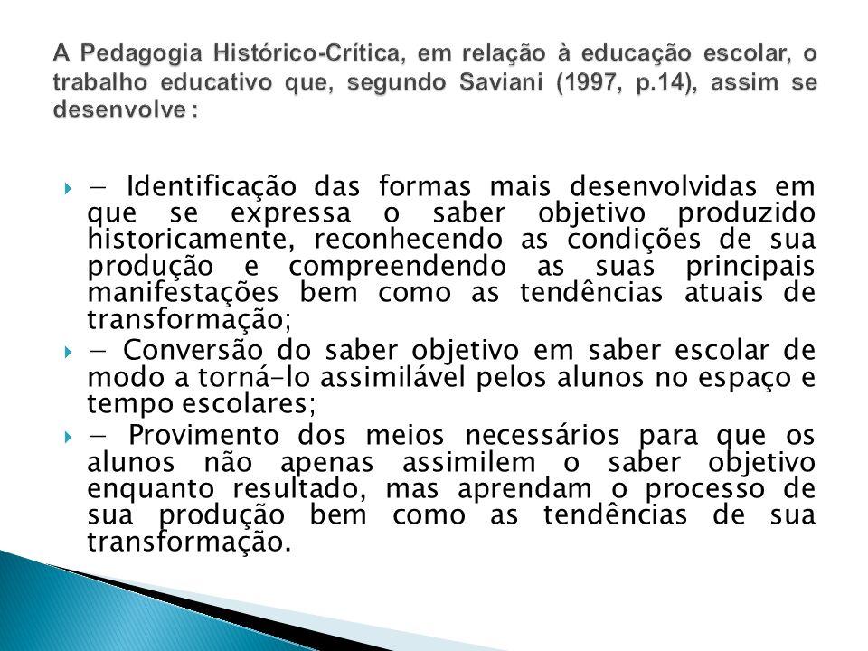 A Pedagogia Histórico-Crítica, em relação à educação escolar, o trabalho educativo que, segundo Saviani (1997, p.14), assim se desenvolve :
