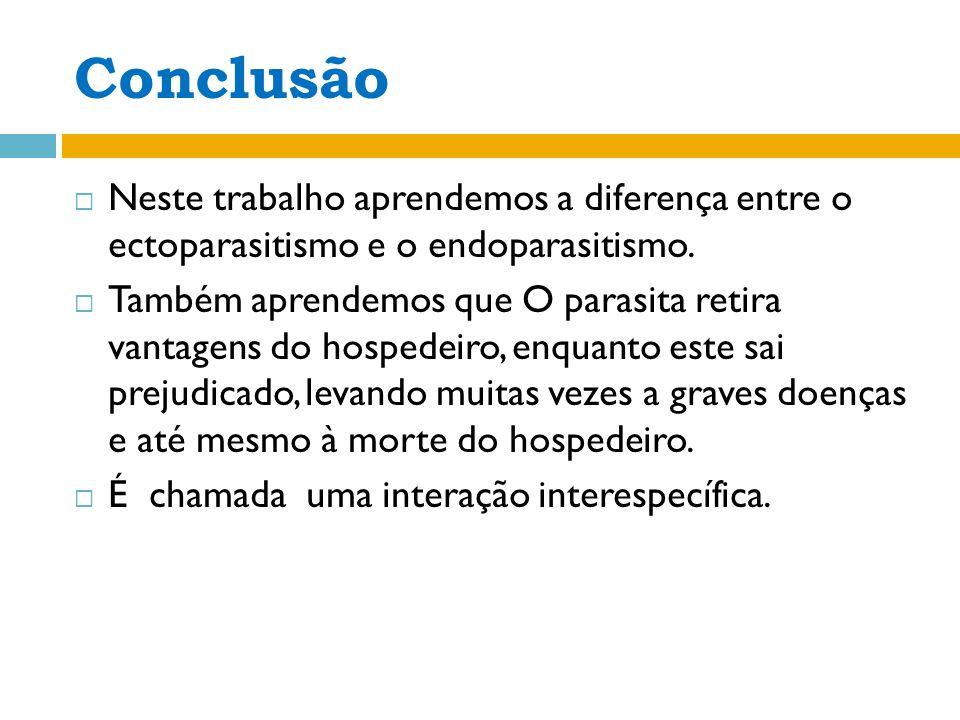Conclusão Neste trabalho aprendemos a diferença entre o ectoparasitismo e o endoparasitismo.