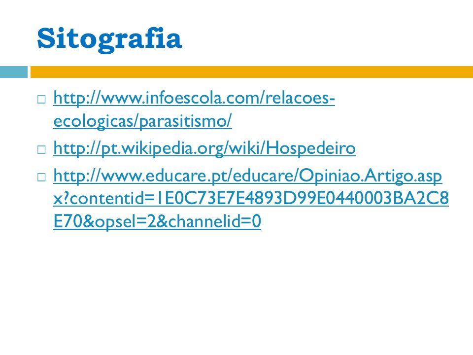 Sitografia http://www.infoescola.com/relacoes- ecologicas/parasitismo/