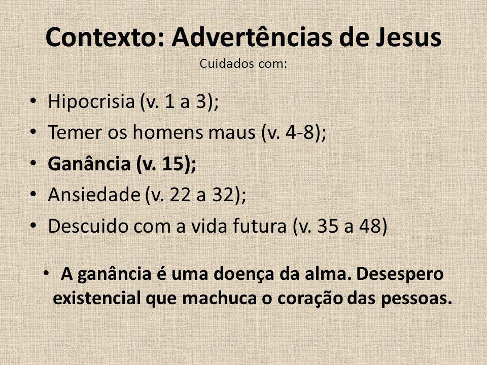 Contexto: Advertências de Jesus Cuidados com: