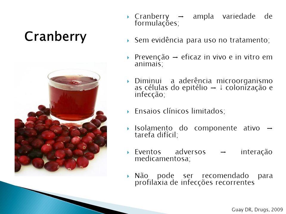 Cranberry Cranberry → ampla variedade de formulações;