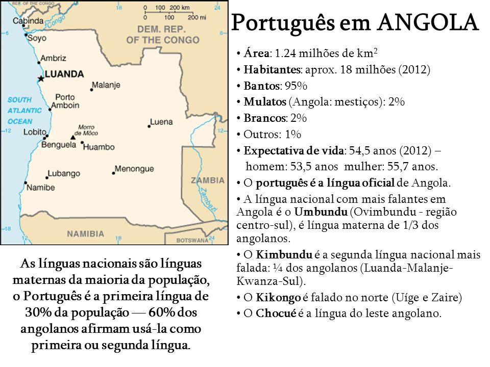 Português em ANGOLA Área: 1.24 milhões de km2. Habitantes: aprox. 18 milhões (2012) Bantos: 95% Mulatos (Angola: mestiços): 2%
