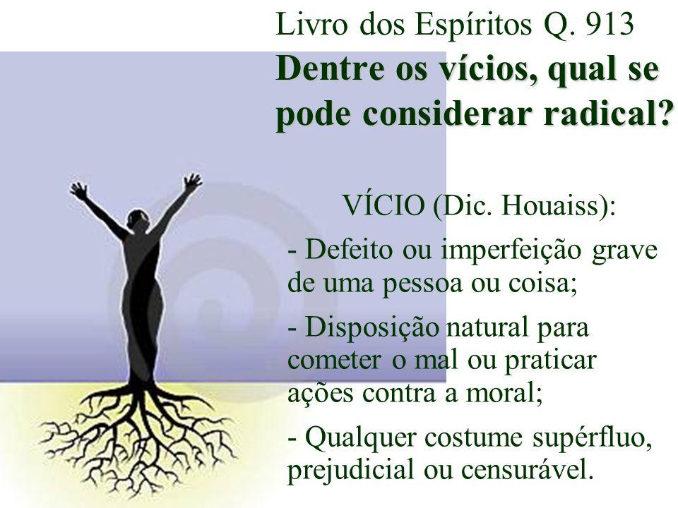 Livro dos Espíritos Q. 913 Dentre os vícios, qual se pode considerar radical