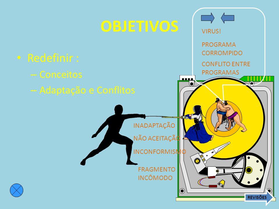 OBJETIVOS Redefinir : Conceitos Adaptação e Conflitos VIRUS! PROGRAMA
