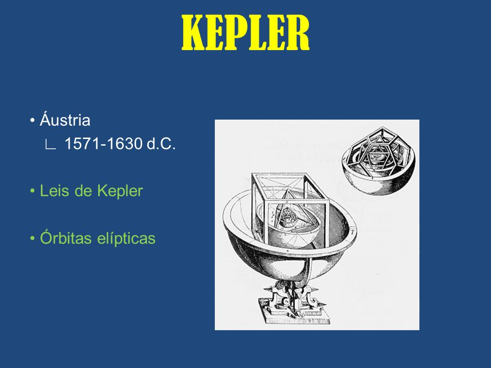KEPLER • Áustria ∟ 1571-1630 d.C. • Leis de Kepler • Órbitas elípticas