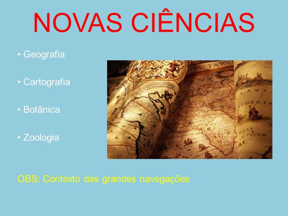 NOVAS CIÊNCIAS • Geografia • Cartografia • Botânica • Zoologia OBS: Contexto das grandes navegações