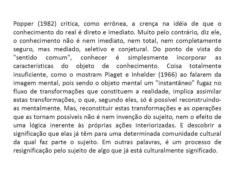 Popper (1982) critica, como errônea, a crença na idéia de que o conhecimento do real é direto e imediato.