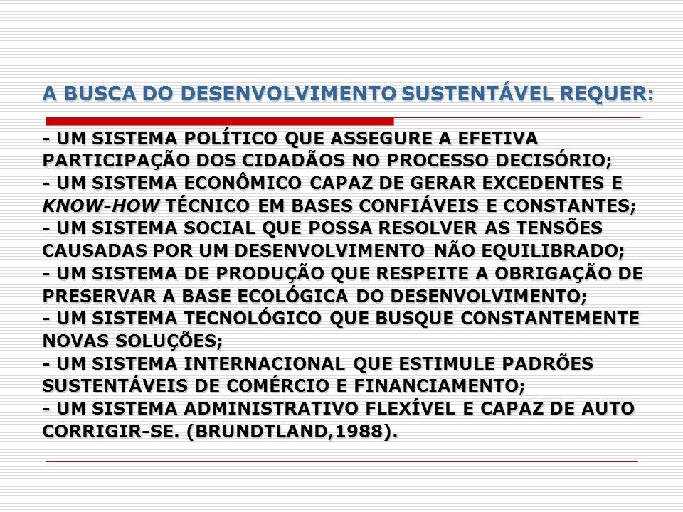 A BUSCA DO DESENVOLVIMENTO SUSTENTÁVEL REQUER: