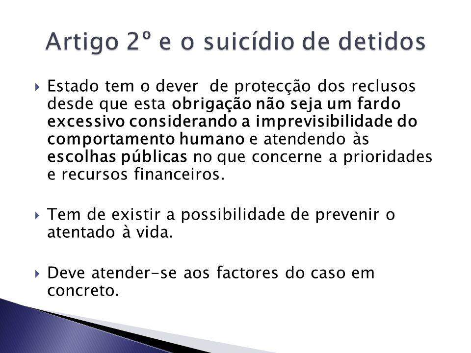 Artigo 2º e o suicídio de detidos