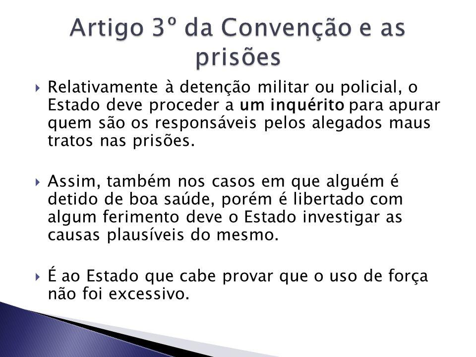 Artigo 3º da Convenção e as prisões