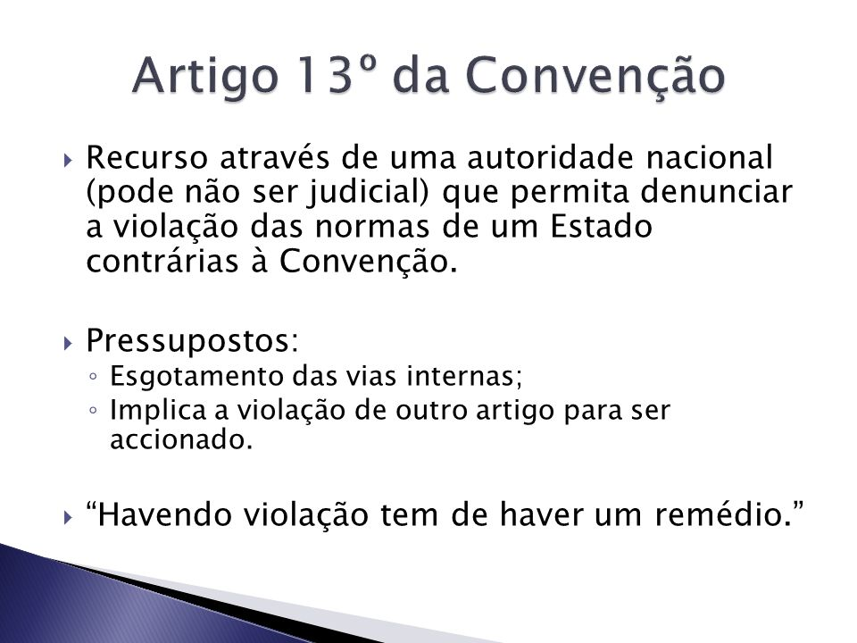 Artigo 13º da Convenção