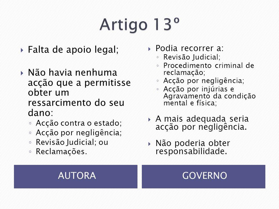 Artigo 13º Falta de apoio legal;