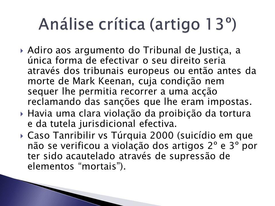 Análise crítica (artigo 13º)