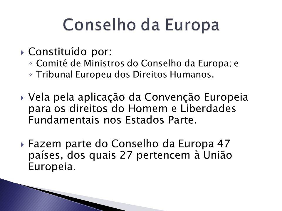 Conselho da Europa Constituído por: