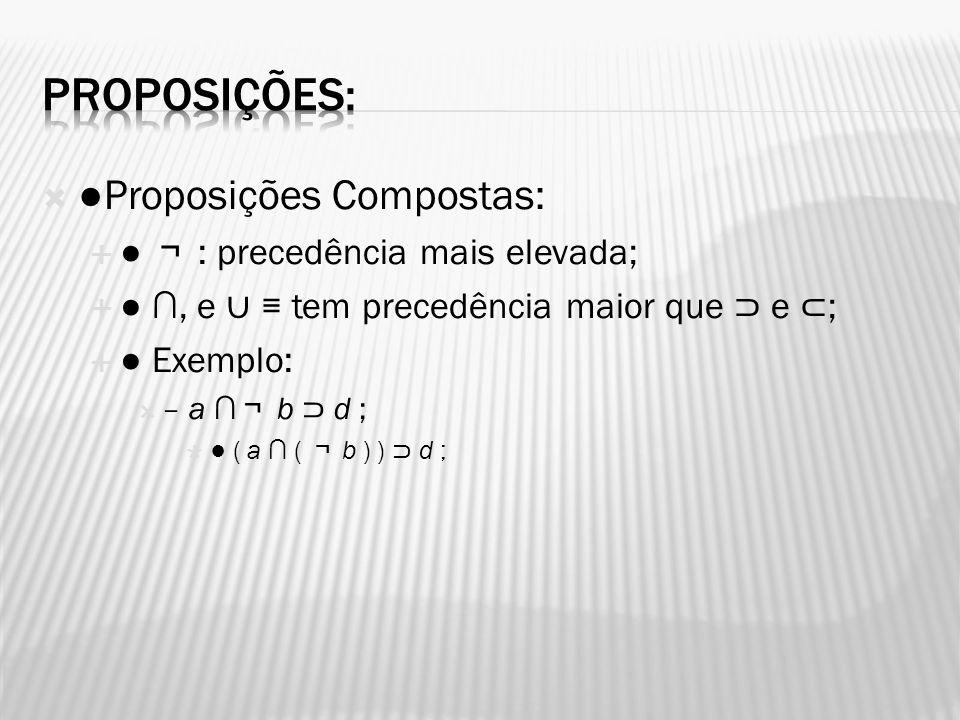 Proposições: ●Proposições Compostas: ● ¬ : precedência mais elevada;
