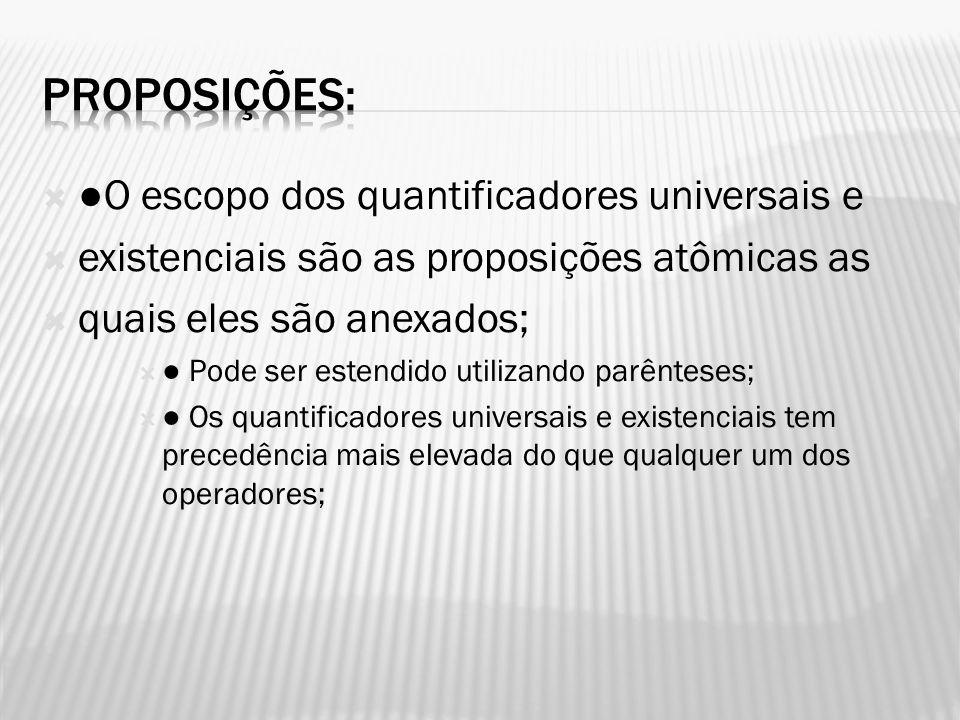 Proposições: ●O escopo dos quantificadores universais e
