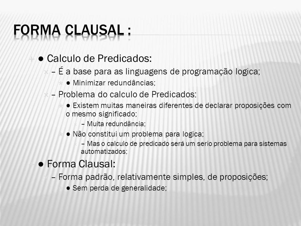 Forma Clausal : ● Calculo de Predicados: ● Forma Clausal: