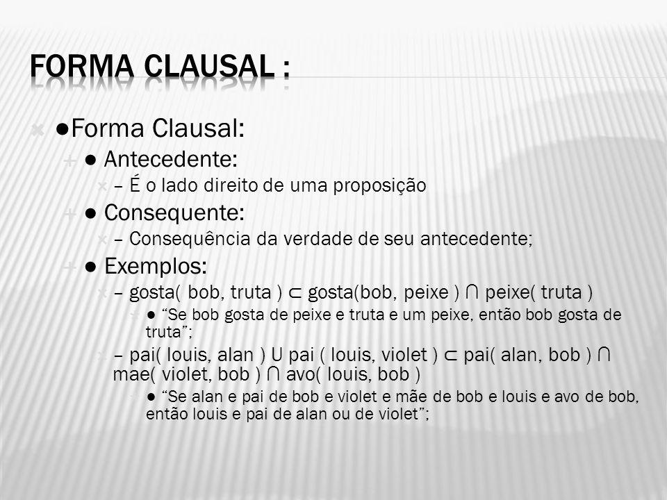 Forma Clausal : ●Forma Clausal: ● Antecedente: ● Consequente: