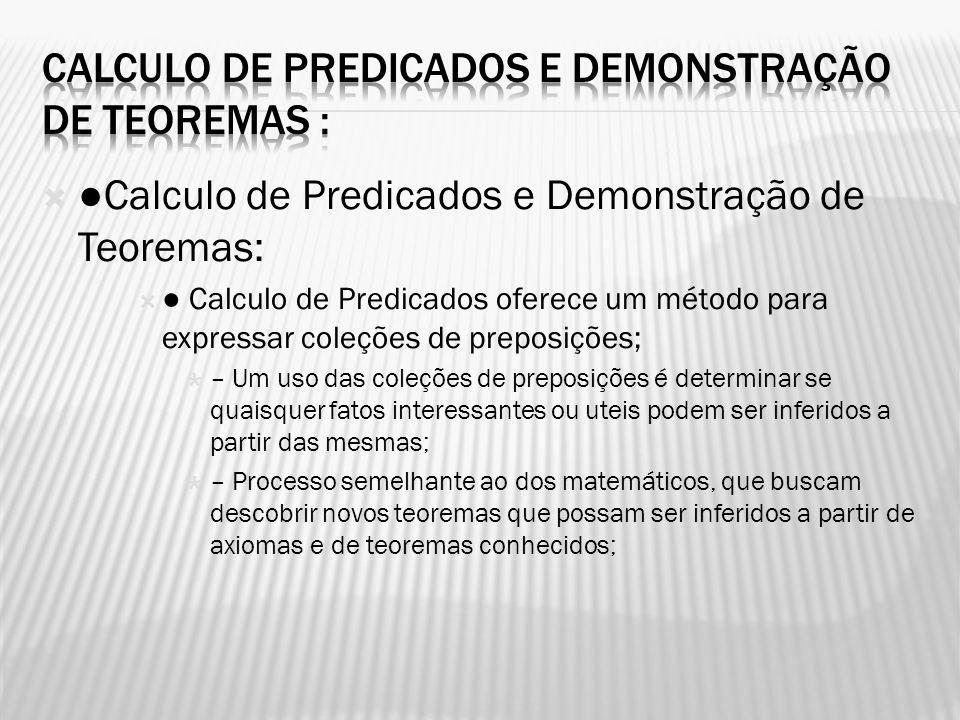 Calculo de Predicados e Demonstração de Teoremas :