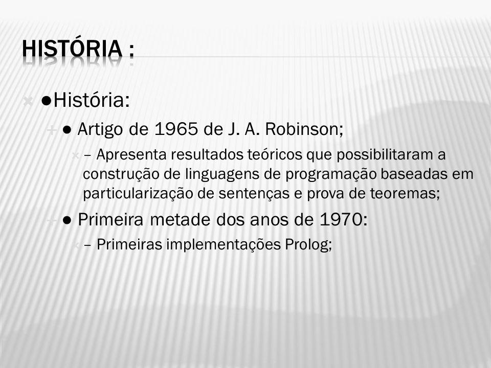 História : ●História: ● Artigo de 1965 de J. A. Robinson;