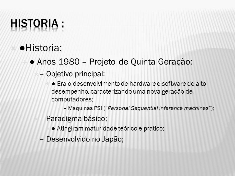 Historia : ●Historia: ● Anos 1980 – Projeto de Quinta Geração:
